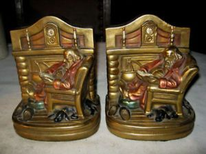 Antique Armor Bronze Art Statue Home Bookends Fire Hearth Dog Book Chair Ends