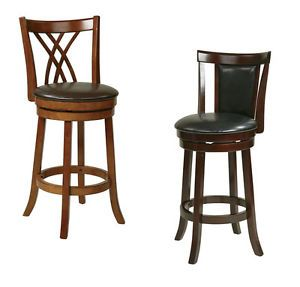 Metro 30H Swivel Bar Stool Wood Faux Leather Counter Pub Bistro Table Chair