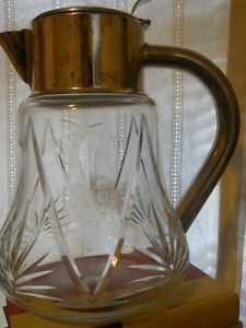 Vtg Cut Lead Crystal Glass Silverplate Pitcher Carafe Decanter West Germany