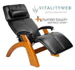 New Human Touch PC 95 The Perfect Chair 095 Maple Premium Black Leather Recliner
