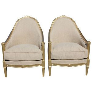 Pair French Art Deco Carved Giltwood Club Chairs Circa 1940's Style Paul Follot