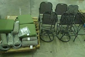 Hampton Bay Fall River Patio Dining Chair Set with Moss Cushions