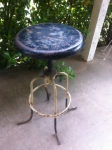 Vintage Mid Century Industrial Metal Machine Age Stool Chair Steampunk A s Aloe