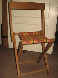 Vintage Solid Oak Folding Chair Original Canvas Seat Camping Chair Stool Super