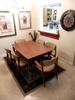 "Glostrup Danish Mid Century Teak Dining Table 2 Wings 104 "" 6 Chairs Denmark"