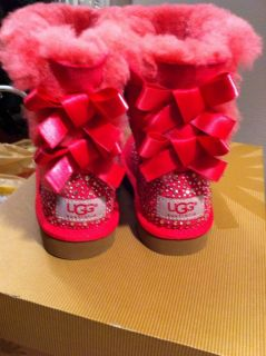 Authentic UGG Australia Bailey Bow Boots Hot Pink Swarovski US9 Toddler