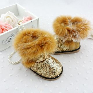 Charming Baby Girl Sparkling Sequine Gold Velcro Genunie Fox Fur Snow Boots 1 4T
