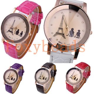 Women Girl's Crystal Decorated Racing Style Analog Quartz Wrist Watch PU Leather