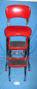 Red Chrome Cosco Step Stool Kitchen Chair with Fold Out Stairs Nice