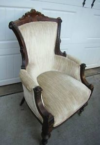 Antique Circa 1900 Victorian Eastlake Upholstered Parlor Chair