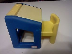 Vtg Little Tikes Doll House Furniture Blue Drawing Art School Desk and Chair
