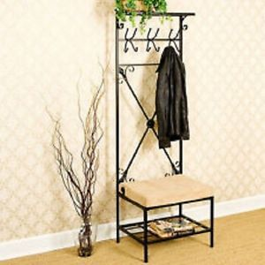 Hall Tree Bench Chair Rack Hooks Coats Hats Hang Entryway Home Decor Furniture