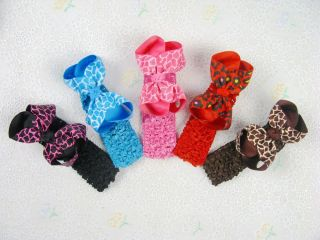"5 Crochet Headband with 5 Baby Girl Hair Bows Alligator Clip 4 5"" 412 419"