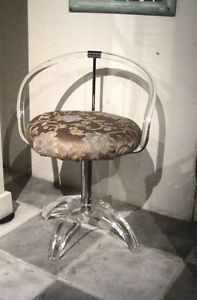 Vintage Lucite and Chrome Swivel Vanity Chair Piano Stool Hollywood Regency