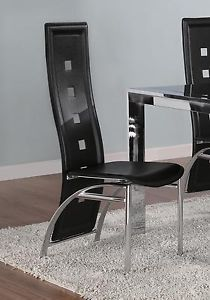 Black Faux Leather Dining Chairs 2pc Set Chrome Finish Modern Dinette Side Chair