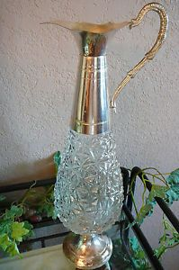 Handmade Crystal Glass Silver Plated Decanter Pitcher Filli Beccaro Acqui Italy