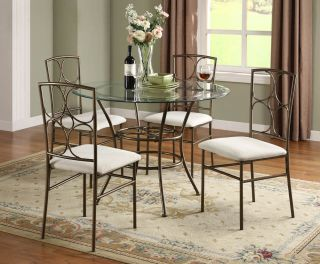 42' Round Glass Metal Dining Table with 4 Side Chairs 5pc Set