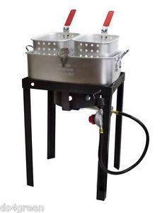 Chard 50 000 BTU Outdoor Tailgate Propane Double Dual 2 Basket Deep Fryer