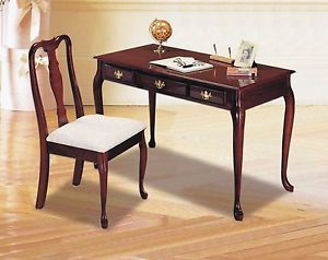 Elegant Cherry Wood Finish Secretary Writing Computer Desk Wood Chair
