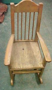 Vintage RARE Doll Size Kid Baby Rocking Rocker Chair Furniture Wooden Wood