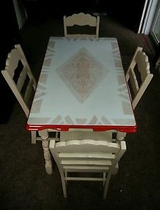 Vintage Porcelain Top Table and Chairs