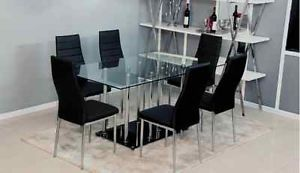 7 PC Modern Tempered Glass Top Table Black PU Chairs Dining Set TBQD368