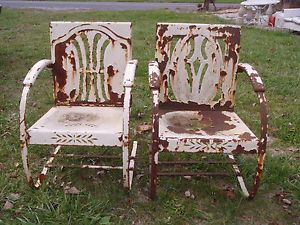 Pair 2 Vintage Metal Heavy Duty Spring Chairs Patio Lawn Cut Outs