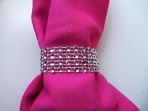 200 Silver Rhinestone Bling Wedding Napkin Rings or Chair Sash Decoration 4 Rows
