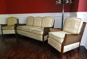 Antique Vintage Art Deco Modernist Bergere Parlor Set Chairs Sofa Gatsby Glam
