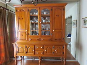 Dinning Set Wood China Cabinet Display Hutch Table Five Chairs Country Style