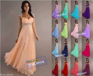 Stock New Chiffon Cap Sleeve Formal Prom Party Bridesmaid Evening Dress Size6 18