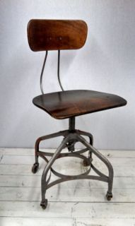 Antique Industrial Toledo Uhl Steel Adjustable Chair Stool with Castors