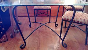 Kessler Wrought Iron Glass Top Table with 4 Cushioned Chairs Local Pickup