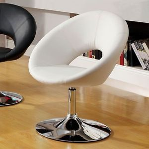 Contemporary Modern Swivel White Faux Leather Accent Chair Chrome Base Bar Stool