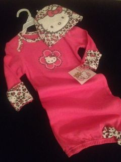 Hello Kitty Baby Girl Gown Cap Set Outfit Pink Layette Size Newborn 3 6 Months