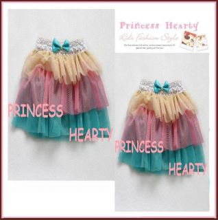 Boutique Girl Top Quality Rainbow Color Cutie Tiered Tulle Skirt Limit