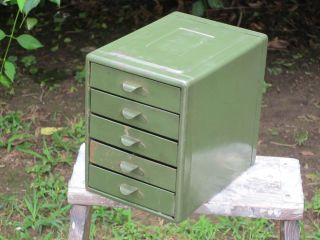 Vintage Small 5 Drawer Metal Industrial Organizer Tool Parts Box Cabinet
