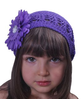 Baby Toddler Girl Kufi Crocheted Hat with Flower Gift
