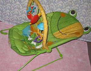 Fisher Price Vibrating Bouncing Baby Chair Green Frog Calming Vibrations Chair