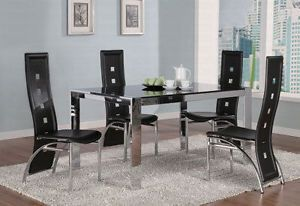 Modern Glass Metal Table Black Leatherette Chairs Dining Room Furniture Sale