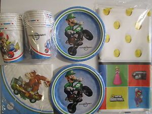 Super Mario Bros Wii Birthday Party Supplies Set Pack for 16