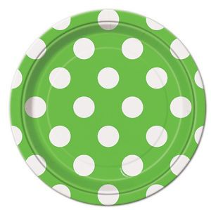 Lime Green Polka Dots 8 Small Plates Party Supplies Birthday Wedding Baby