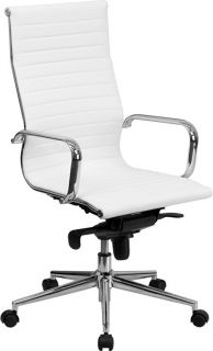 White Leather High Back Office Chair with Polished Aluminum Base and Arms