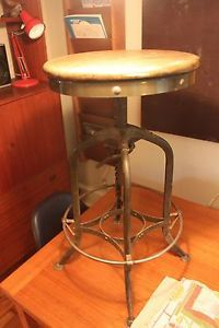 Vintage Industrial Toledo Uhl Draftsman Stool Machine Age Chair 1940s Walnut