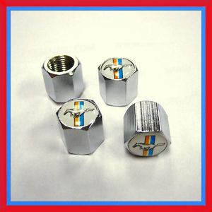 Steel New Tire Valve Caps Ford Mustang Wheel Stem Dust Covers Chrome 4 Set