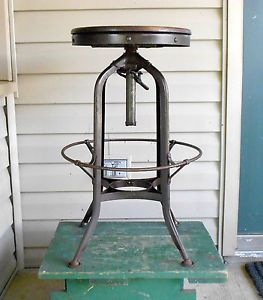 Vintage Toledo Uhl Steel Machine Age Industrial Drafting Swivel Stool Steampunk