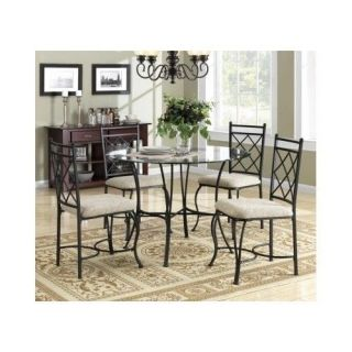 Glass Top Table 5 Piece Dining Room or Kitchen Round Black Chair Metal Set New