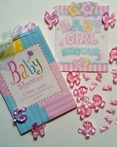 45 PC Baby Girl Shower Party Set Favors Cards Games Pink Gifts Supply Crafts