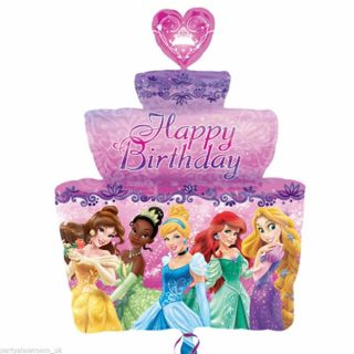 "28"" Disney Princess Happy Birthday Cake Foil Supershape Balloon"