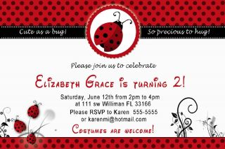30 Custom Little Ladybug Birthday Party Photo Invitation Card Red 1st 2nd Dots